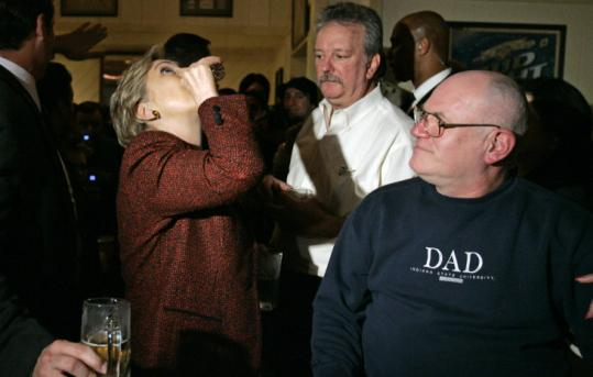 Hillary Clinton tossed back a shot of whiskey at Bronko's restaurant in Crown Point, Ind., last month. Finishing strong in the primaries has given the stubborn candidate street cred.