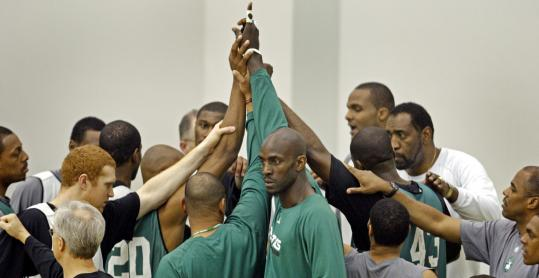 One day after closing out Atlanta, the Celtics were together again at practice, preparing for tonight's Game 1 against Cleveland.