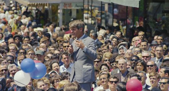 Robert F. Kennedy at the Indiana primary in Indianapolis on April 30, 1968, where he unexpectedly defeated two rivals.