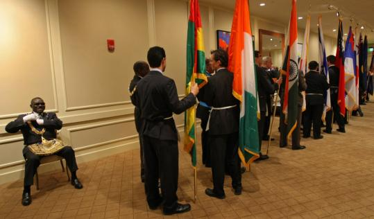 M.W. Clotaire M. Coffie, grand master Freemason from Ivory Coast, took a seat to wait for the parade of flags to begin the 275th anniversary celebration of the Grand Lodge of Massachusetts and St. John's Lodge AF & AM at the Westin Copley Place hotel.