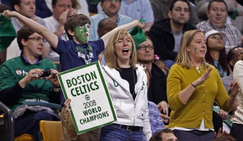 This fan may be a bit premature with her '2008 World Champions' sign, but the Celtics took another step in that direction with their Game 1 victory over Cleveland.