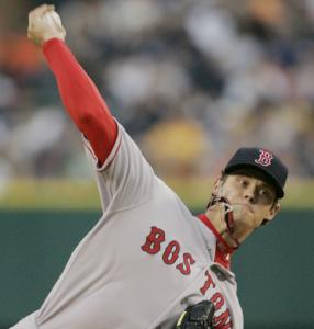 Clay Buchholz didn't have to endure a rain delay last night, but the Tigers poured it on against him; Buchholz allowed 10 hits and five runs and lasted just four innings, throwing 82 pitches.