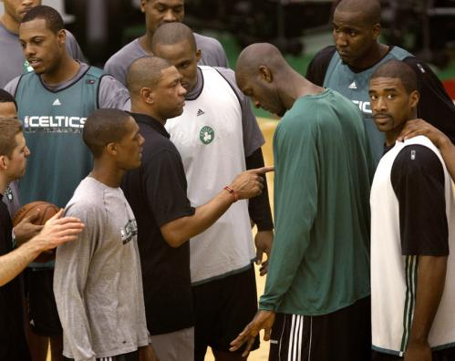 The team gathered around head coach Doc Rivers following practice.