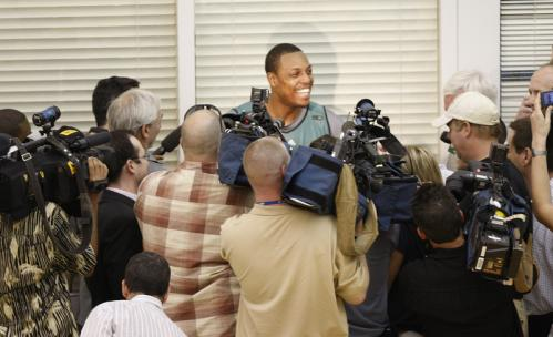 Boston Celtics forward Paul Pierce (34) was all smiles as he met with the media.