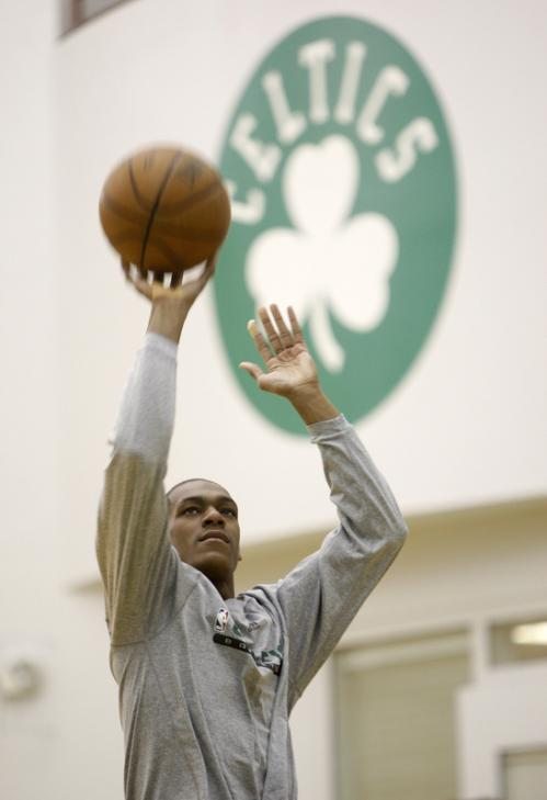 Boston Celtics guard Rajon Rondo practices his shooting following the team's workout Wednesday in Waltham.