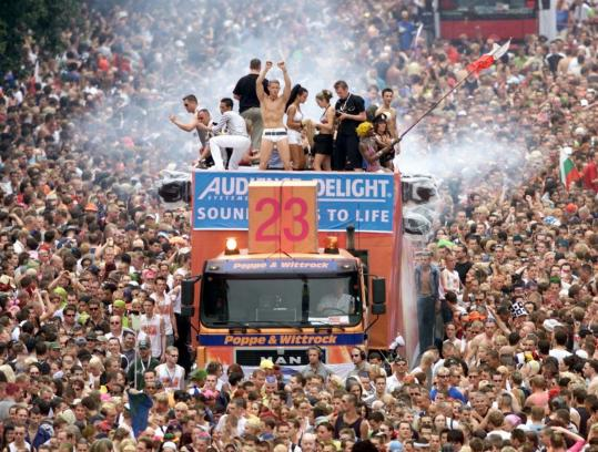 A stream of DJs on flatbed trucks will take over a national highway in Germany during this year's Loveparade.