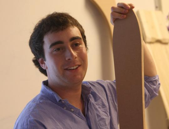 Caleb Mayerson, 18, a senior from Harvard, made two skis as part of his Parker School exhibition on ski-building.