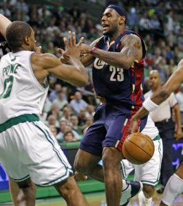 LeBron James had 21 points, but he found the going tough when he penetrated the lane against the Celtics in Game 2.