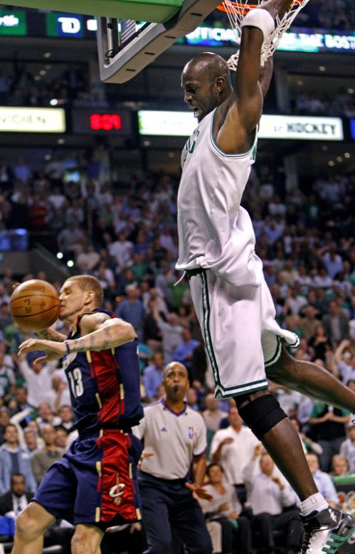 After Celtics forward Kevin Garnett slammed home two first-half points, the ball bounced off Cleveland's Delonte West, then Garnett, who was fouled on the play and howled in delight. The Celtics prevailed again in Game 2, beating the Cavaliers 89-73.
