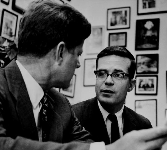 John F. Kennedy (left) and Ted Sorensen in the late 1950s. Sorensen began working for Kennedy as a research assistant in 1953.