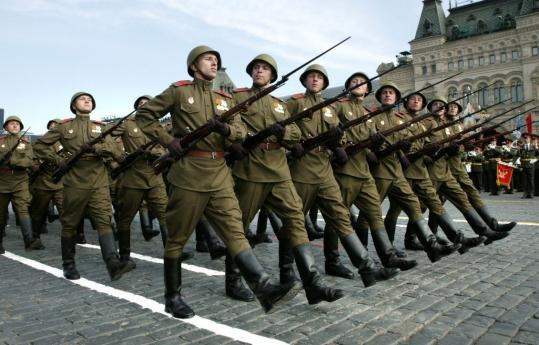 Russian troops marched yesterday in World War II-era uniforms. Tanks rolled through Red Square in a Victory Day parade for the first time since the collapse of the Soviet Union.