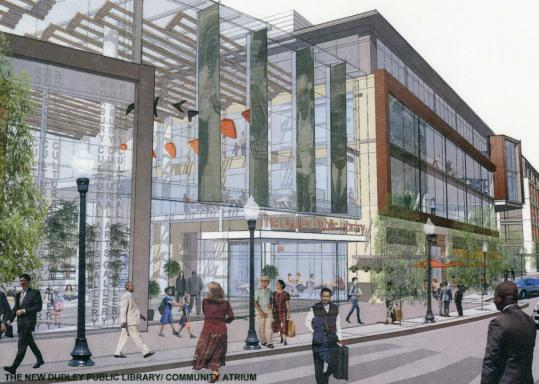 'The Plaza at Dudley Square,' featuring the Dudley Public Library/Community Atrium, is the winning vision in a competition to draft plans for a revitalized Dudley Square. Architect Gregory Minott, whose plan won Best Building Design for its depiction of the renovated branch library, was credited with keeping his proposal in an appropriate scale for the neighborhood.