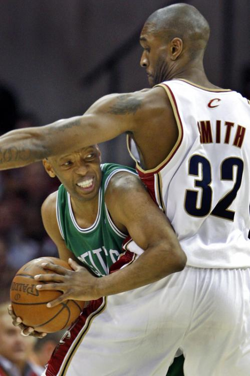 Celtics guard Sam Cassell had nowhere to go in a mismatch with Cavs forward Joe Smith during the second half.