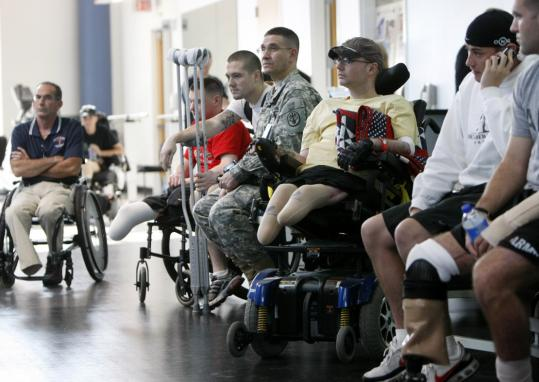 Wounded soldiers involved in physical therapy awaited a visit from President Bush in November at the Center for the Intrepid at the Brooke Army Medical Center in San Antonio.