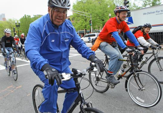 Mayor Thomas M. Menino took a ceremonial half-mile bicycle ride from City Hall to Post Office Square for the launch of the first annual Bay State Bike Week.