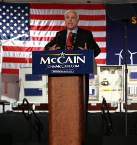 Senator John McCain, at the Vestas Training Facility in Portland, Ore., yesterday, said he would not 'shirk the mantle of leadership that the United States bears. I will not permit eight long years to pass without serious action on serious challenges.'