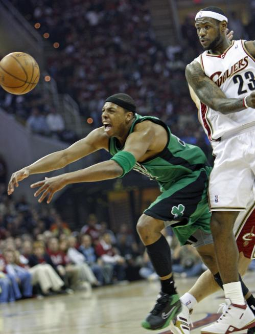 Celtics forward Paul Pierce tries, but can't corral a loose ball in front of LeBron James (23).