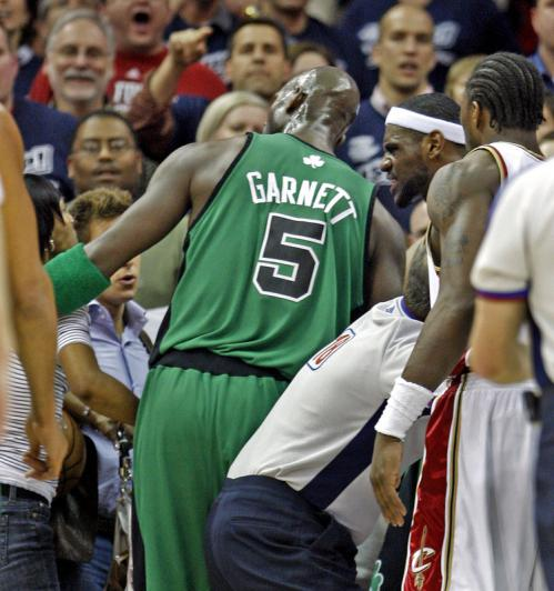 After Cavaliers forward LeBron James was fouled hard by Paul Pierce in the second quarter, his mother Gloria emerged from her seat and exchanged words with Kevin Garnett (5).