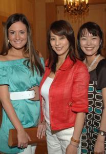 Sox wives (from left) Ashley Papelbon, Tomoyo Matsuzaka, and Yuka Okajima at the Taj Boston hotel yesterday.