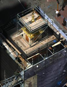 Boston's Old State House is undergoing the second phase of a $10 million restoration that includes new siding for its tower, new copper roofing, and replacing rotted wood.