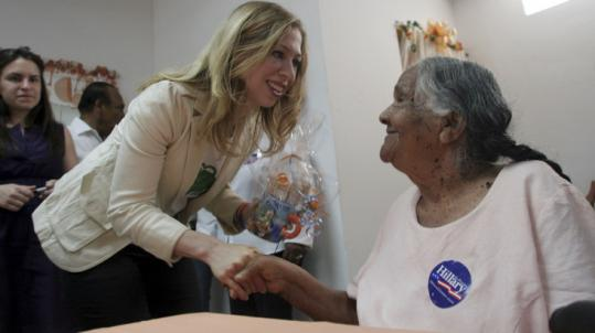 Chelsea Clinton visited a healthcare facility for the elderly in Vieques, Puerto Rico, yesterday. The Navy prohibited a planned campaign stop at a former US bombing range there.