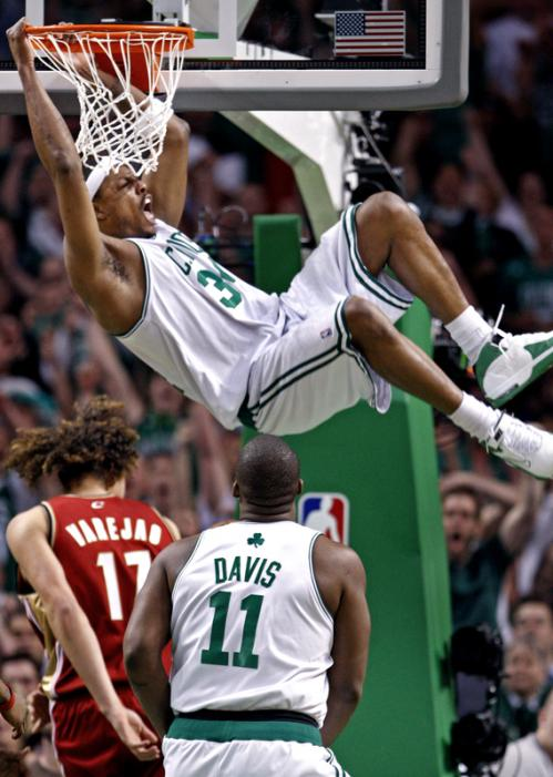 Celtics forward Paul Pierce throws down an emphatic slam dunk.