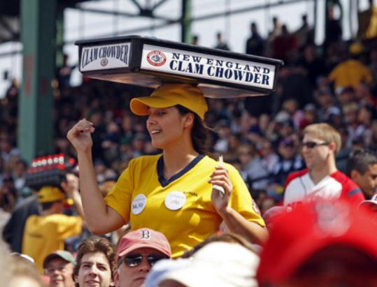 Brookline native Pearl Houghteling, 21, has mastered the finer points of balancing clam chowder as a hawker at Fenway Park.