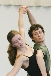 Rita Donahue and David Leventhal in rehearsal for 'Romeo & Juliet, on Motifs of Shakespeare.'