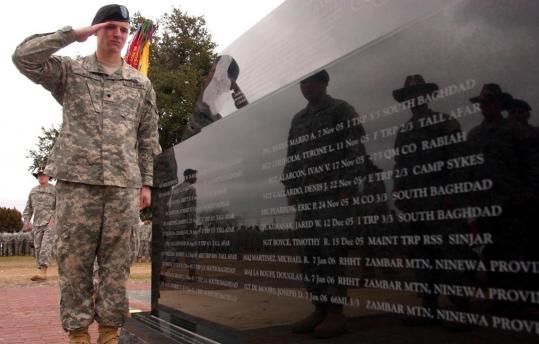 Army Specialist John Andrew Matt III of the Third Armored Cavalry Regiment saluted the the memorial to fallen soldiers at a rededication ceremony at Fort Hood, Texas, on Jan. 11, 2007.