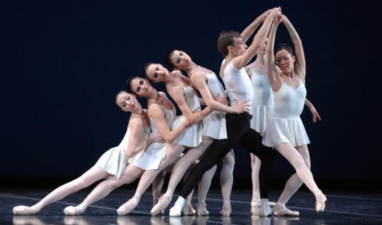 Romi Beppu (right), Roman Rykine, and other Boston Ballet dancers rehearse Balanchine's 'Concerto Barocco.'