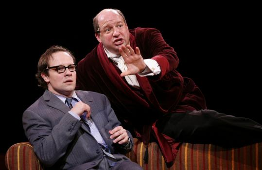 Jim Stanek (left) and Scott Davidson play Broadway schemers Leo Bloom and Max Bialystock in 'The Producers' at North Shore Music Theatre.