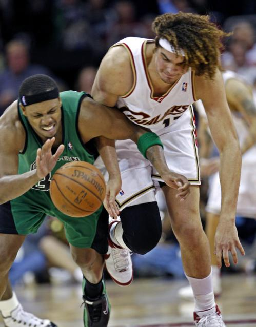 Cavaliers forward Anderson Varejao (right) battled Paul Pierce for a fourth quarter loose ball.