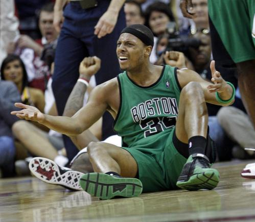 Paul Pierce reacted after being called for an offensive foul against LeBron James late in the fourth quarter.