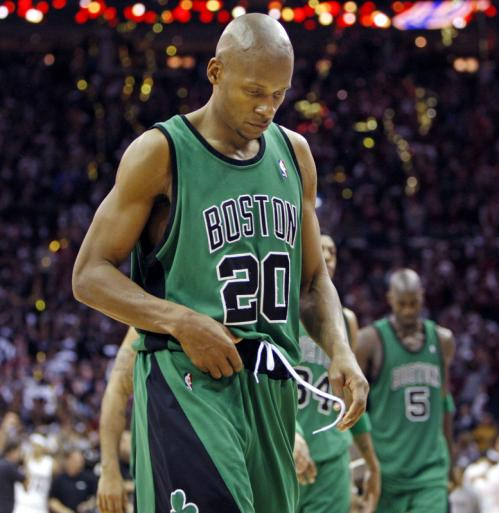 Celtics guard Ray Allen walked off the court after the final horn sounded.