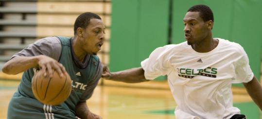 Paul Pierce drives against Tony Allen during yesterday's practice for today's decisive Game 7.