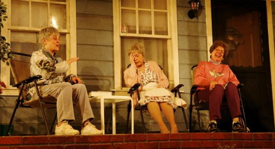 From left: Sheriden Thomas, Ellen Colton, and Cheryl McMahon play the bantering older ladies in Jack Neary's 'The Porch.'