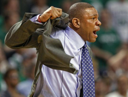 Doc Rivers felt the Cavaliers were holding Paul Pierce's jersey, so he decided to demonstrate for the referees what to look for.