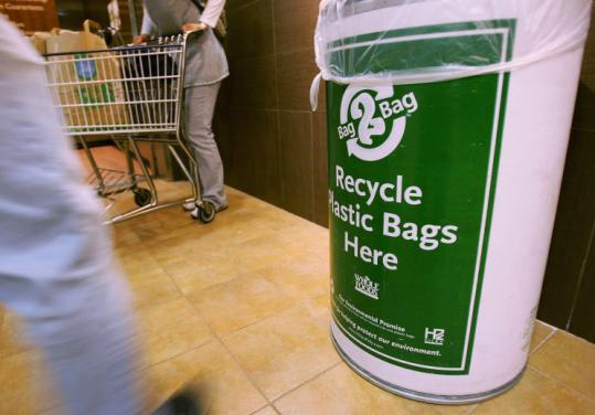 Some supermarkets in Plymouth and across the country provide containers for customers to recycle used plastic bags.