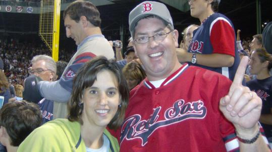 With his wife, Emily, at his side, Brian Rowley witnessed Clay Buchholz's no-hitter last Sept. 1 on his first Fenway visit.
