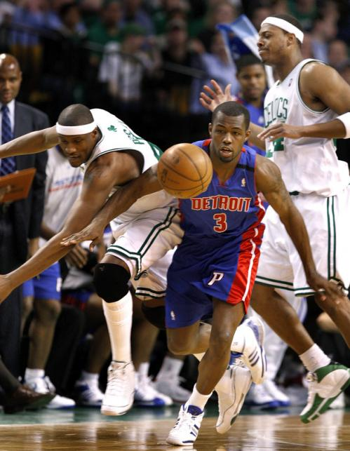 Celtics forward James Posey (left) was called for the second half foul on Detroit Pistons guard Rodney Stuckey.