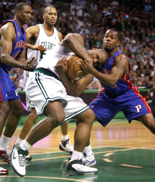 When Pistons guard Rodney Stuckey wasn't sinking threes he was battling Celtics forward Glen 'Big Baby' Davis for a jump ball.