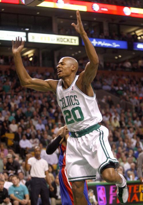 Celtics guard Ray Allen reacts after being fouled in the first quarter.