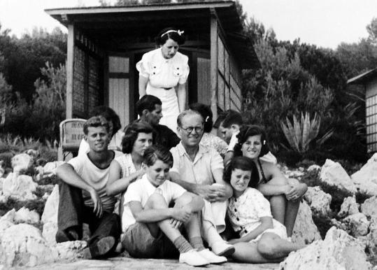 The Kennedys vacationing on the French Riviera, August 1938. Ted, the youngest, is at the upper right.