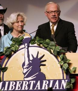 Jeri Dobbin (left) looked on as her husband, former congressman Bob Barr, accepted the presidential nomination.