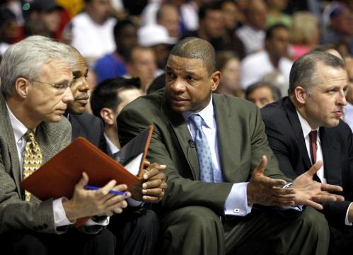 Boston Celtics head coach Doc Rivers and his coaching staff were looking for answers during Game 4.