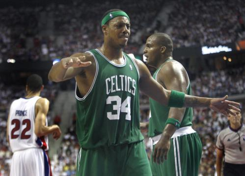 Boston Celtics forward Paul Pierce (34) reacts after Boston Celtics forward Glen Davis (11) picked up a foul.