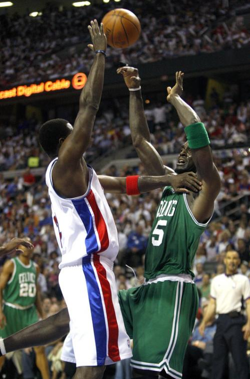 Detroit Pistons forward Antonio McDyess (24) looks for some room while working against Boston Celtics forward Kevin Garnett (5).