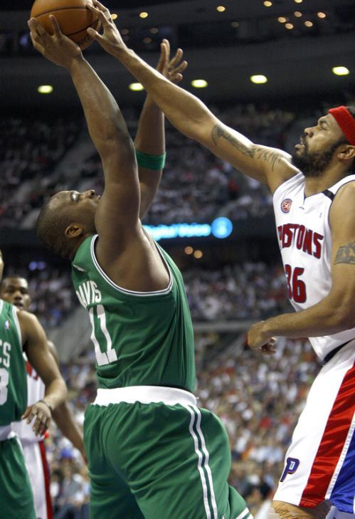 Boston Celtics forward Glen Davis (11) has his shot blocked by Detroit Pistons forward Rasheed Wallace.