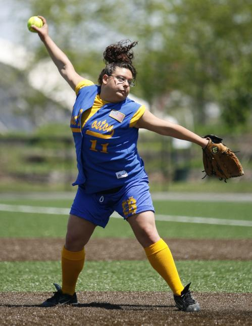 East Boston pitcher Brittney DaVella winds up.
