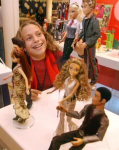 Mattel promoted My Scene figures, on display here in New York, after losing girls to MGA Entertainment's Bratz franchise. An ex-Mattel designer is credited with inventing the Bratz.